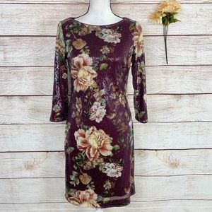 Vince Camuto Floral Sequin Shift Dress Size 6